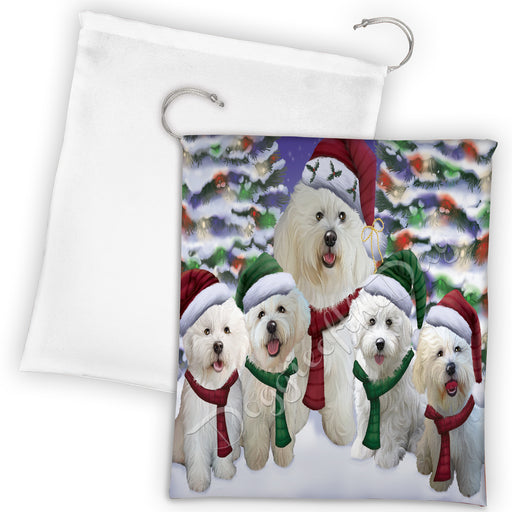 Bichon Frise Dogs Christmas Family Portrait in Holiday Scenic Background Drawstring Laundry or Gift Bag LGB48117