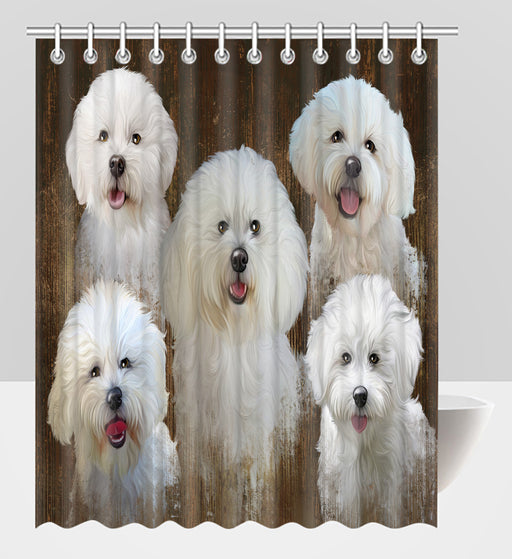 Rustic Bichon Frise Dogs Shower Curtain