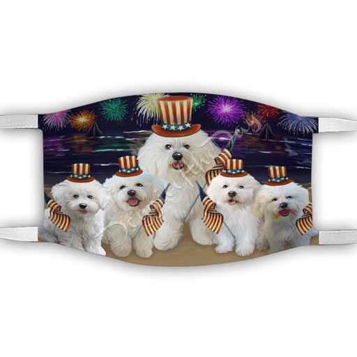 4th of July Independence Day Bichon Frise Dogs Face Mask FM49379