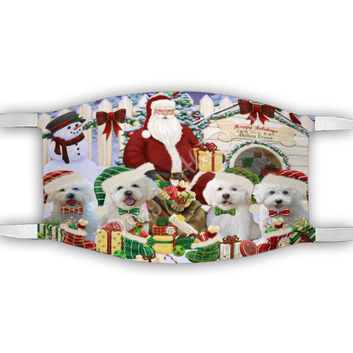 Happy Holidays Christmas Bichon Frise Dogs House Gathering Face Mask FM48222