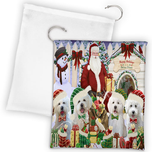 Happy Holidays Christmas Bichon Frise Dogs House Gathering Drawstring Laundry or Gift Bag LGB48020