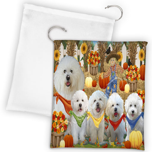 Fall Festive Harvest Time Gathering Bichon Frise Dogs Drawstring Laundry or Gift Bag LGB48378