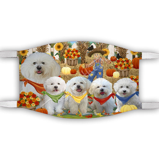 Fall Festive Harvest Time Gathering  Bichon Frise Dogs Face Mask FM48511