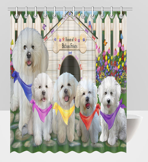 Spring Dog House Bichon Frise Dogs Shower Curtain