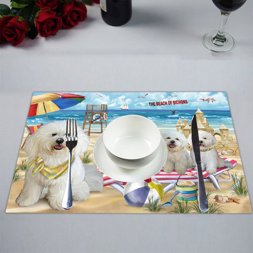 Pet Friendly Beach Bichon Frise Dogs Placemat