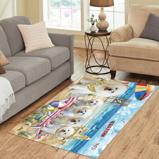 Pet Friendly Beach Bichon Frise Dogs Area Rug