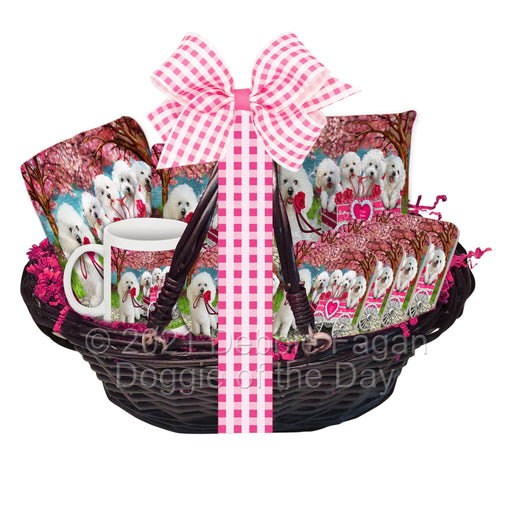 Mother's Day Gift Basket Bichon Frise Dogs Blanket, Pillow, Coasters, Magnet, Coffee Mug and Ornament