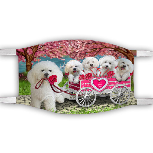 I Love Bichon Frise Dogs in a Cart Face Mask FM48121