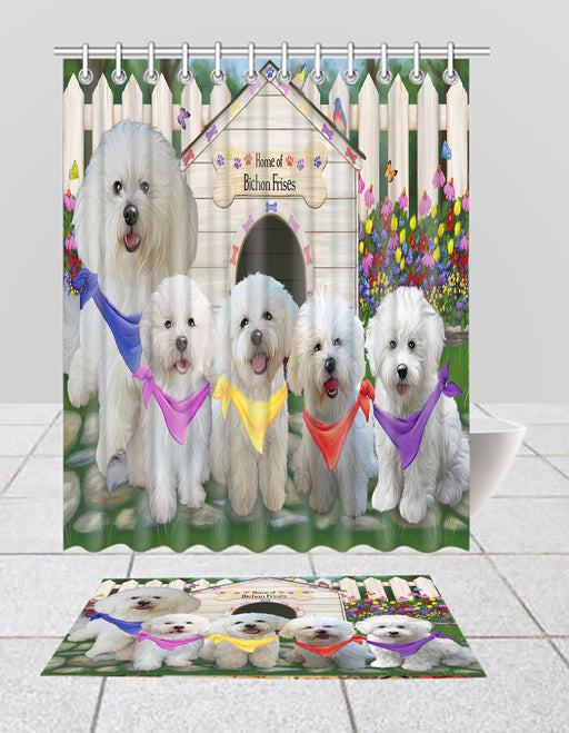 Spring Dog House Bichon Frise Dogs Bath Mat and Shower Curtain Combo