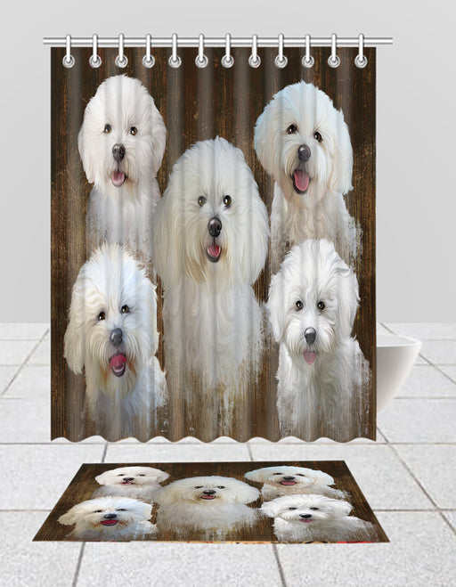 Rustic Bichon Frise Dogs  Bath Mat and Shower Curtain Combo