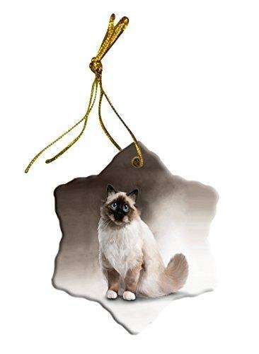 Birman Cat Christmas Snowflake Ceramic Ornament