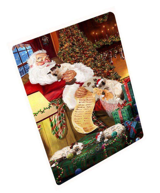 Birman Cats and Kittens Sleeping with Santa Large Refrigerator / Dishwasher Magnet D298
