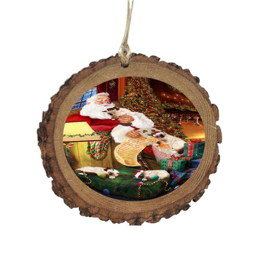 Birman Cats and Kittens Sleeping with Santa Wooden Christmas Ornament WOR49250