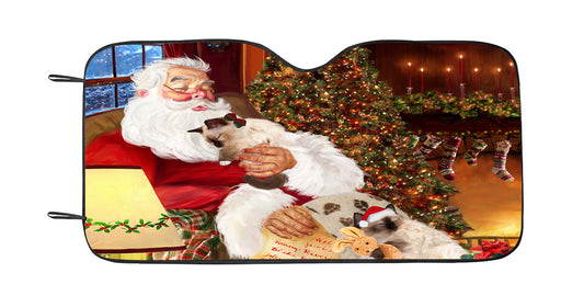 Santa Sleeping with Birman Cats Car Sun Shade