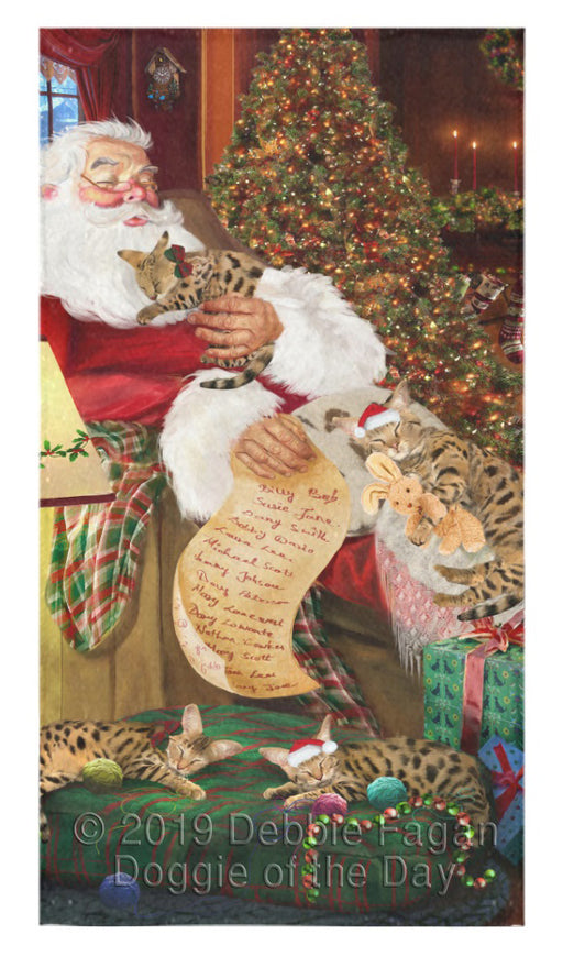 Santa Sleeping with Birman Cats Bath Towel