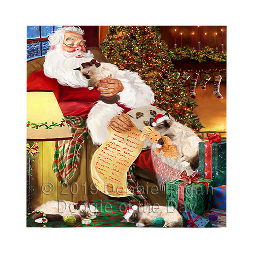 Santa Sleeping with Birman Cats Square Towel