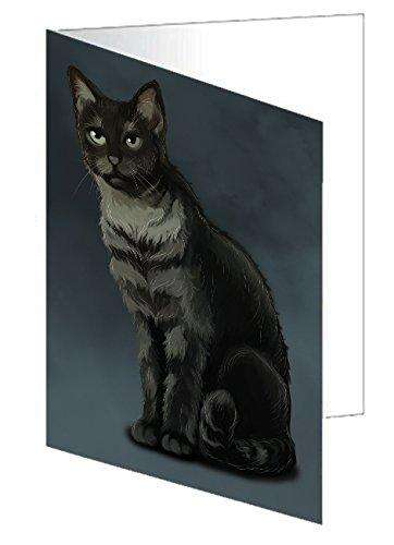 Black And Silver Tabby Cat Greeting Card