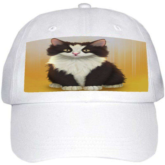 Black And White Cat Ball Hat Cap Off White