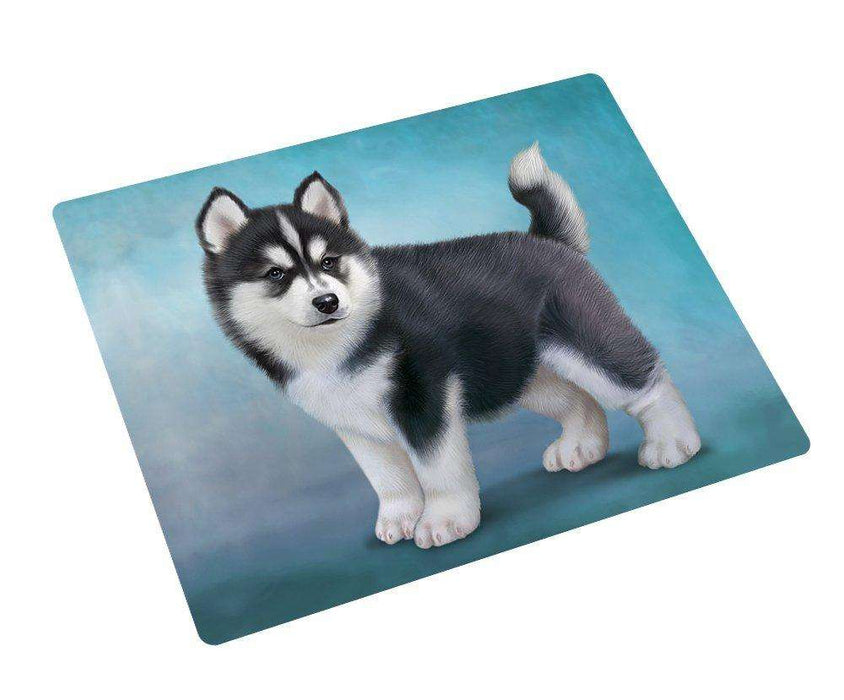 Black And White Siberian Husky Puppy Dog Art Portrait Print Woven Throw Sherpa Plush Fleece Blanket