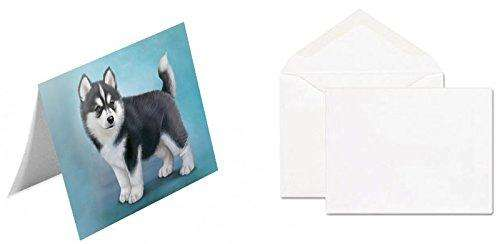 Black And White Siberian Husky Puppy Dog Note Card