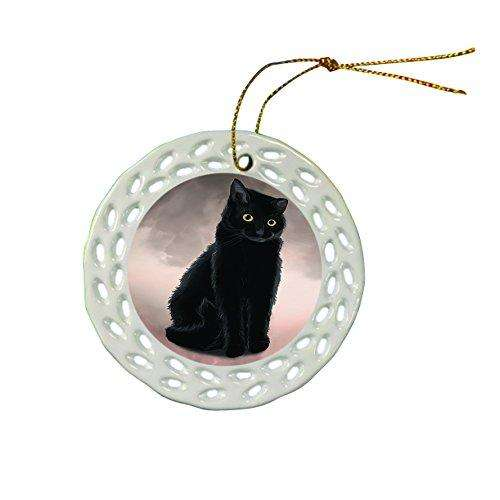Black Cat Christmas Doily Ceramic Ornament