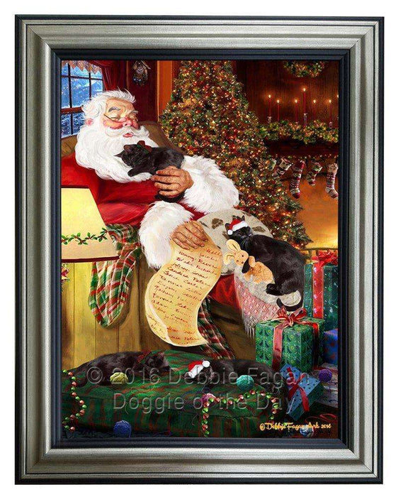 Black Cats and Kittens Sleeping with Santa Framed Canvas Print Wall Art