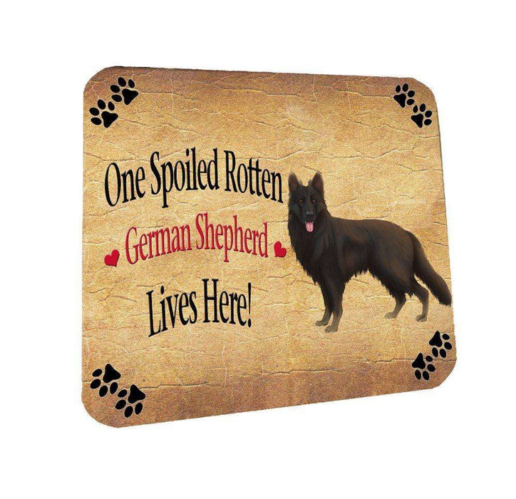 Black German Shepherd Spoiled Rotten Dog Coasters Set of 4