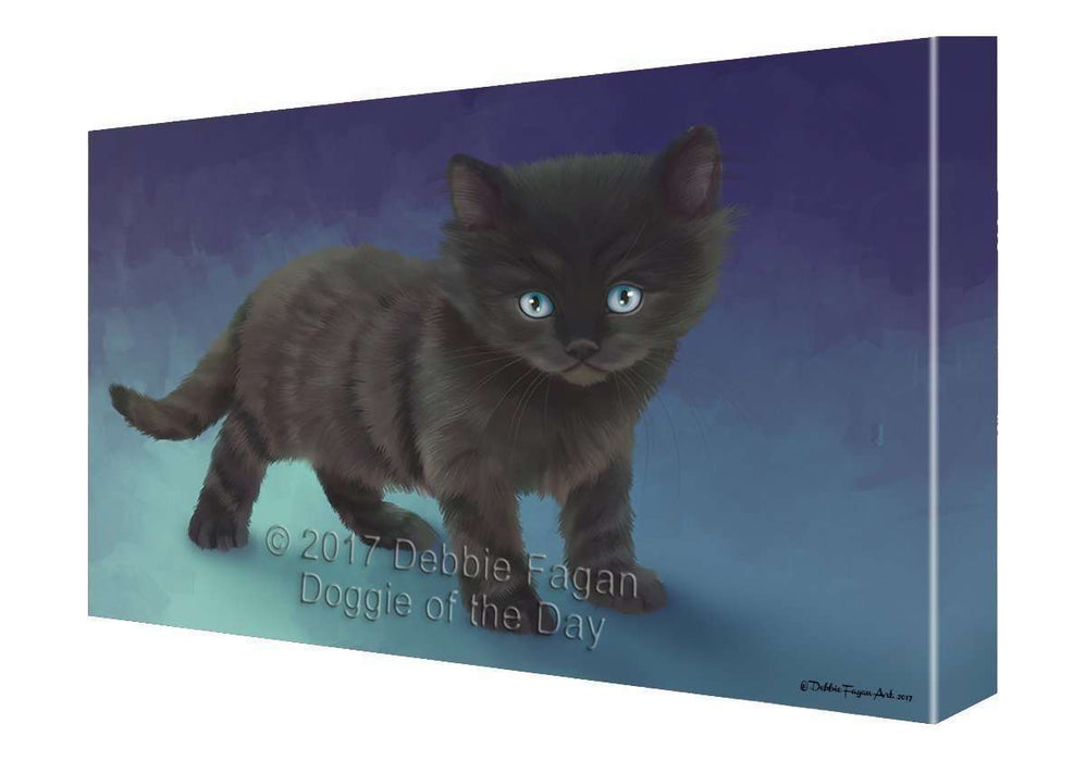 Black Kitten Cat Painting Printed on Canvas Wall Art