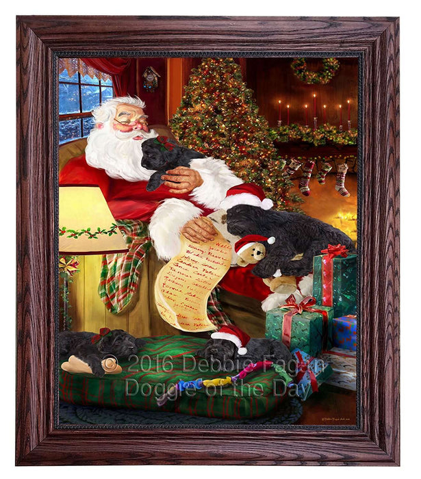 Black Russian Terrier Dog and Puppies Sleeping with Santa Framed Canvas Print Wall Art