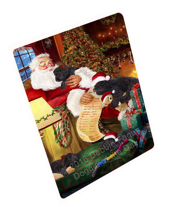 Black Russian Terrier Dog and Puppies Sleeping with Santa Magnet