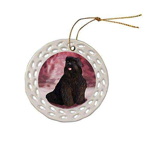 Black Russian Terrier Dog Christmas Doily Ceramic Ornament
