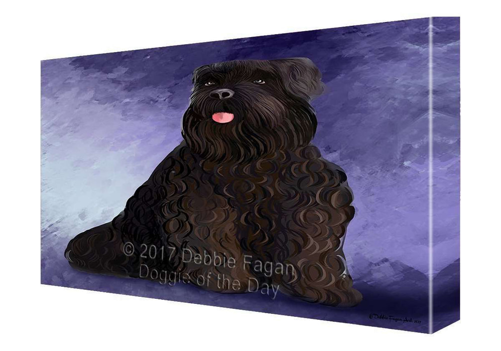 Black Russian Terrier Dog Painting Printed on Canvas Wall Art