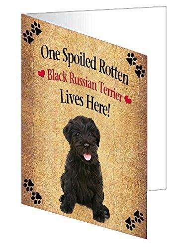 Black Russian Terrier Puppy Spoiled Rotten Dog Greeting Card