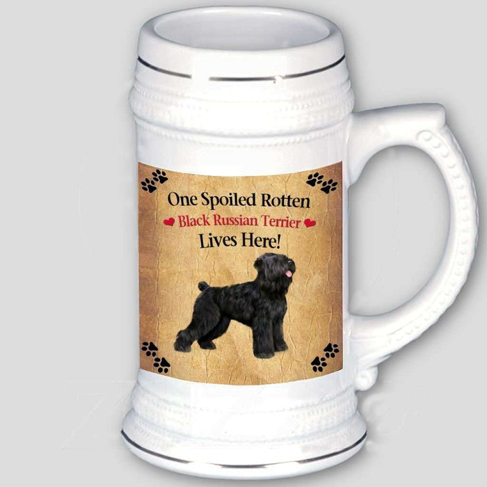 Black Russian Terrier Spoiled Rotten Dog Beer Stein
