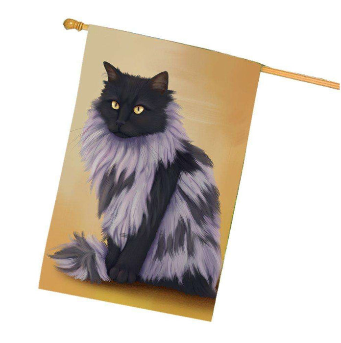 Black Smoke Norwegian Forest Cat House Flag