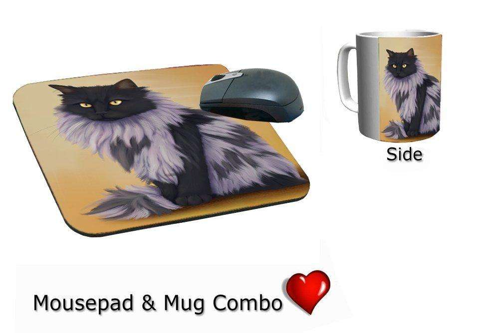Black Smoke Norwegian Forest Cat Mug & Mousepad Combo Gift Set
