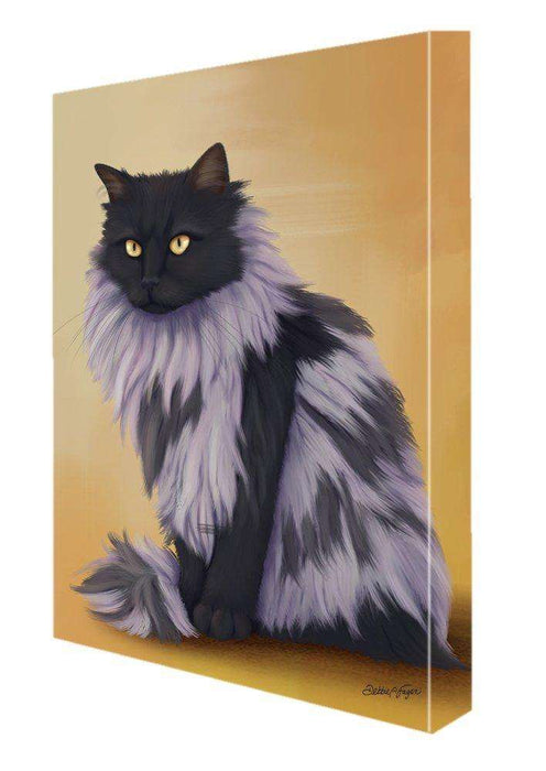 Black Smoke Norwegian Forest Cat Painting Printed on Canvas Wall Art Signed