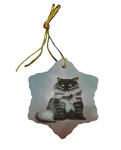 Black Smoke Siberian Cat Christmas Snowflake Ceramic Ornament