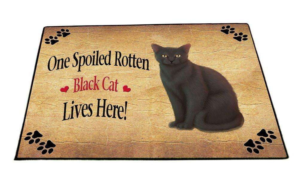 Black Spoiled Rotten Cat Indoor/Outdoor Floormat