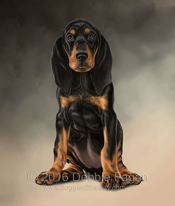 Black & Tan Coonhound Dog Art Portrait Print Woven Throw Sherpa Plush Fleece Blanket
