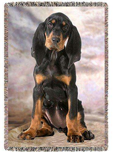 Black Tan Coonhound Dog Woven Throw Blanket 54 x 38
