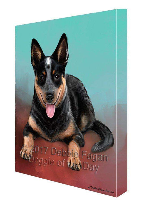 Blue Heeler Dog Painting Printed on Canvas Wall Art