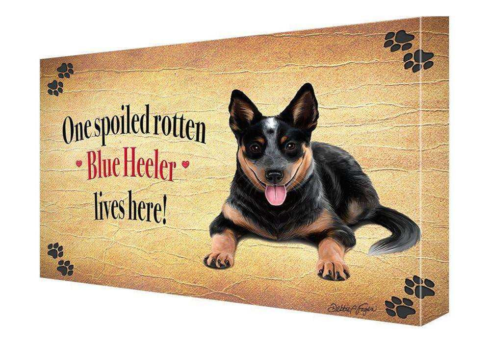 Blue Heeler Spoiled Rotten Dog Painting Printed on Canvas Wall Art Signed