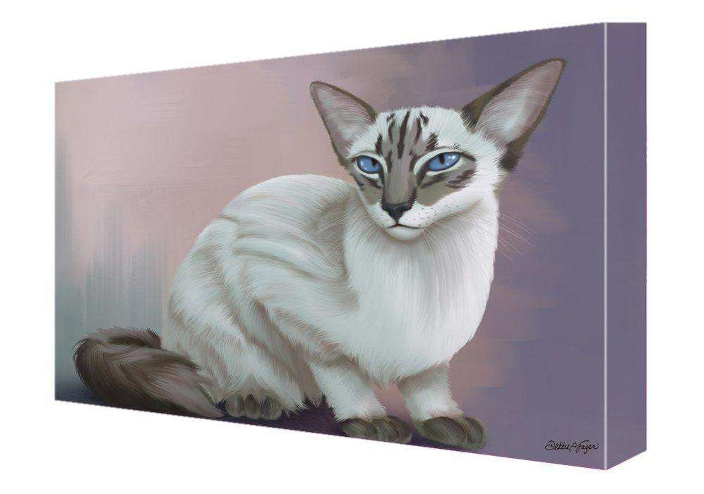 Blue Lynx Point Javanese Cat Painting Printed on Canvas Wall Art Signed