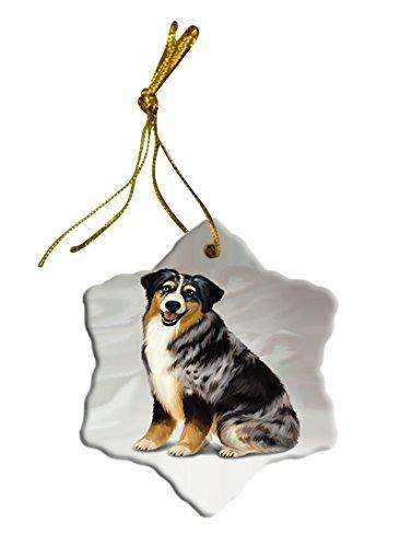 Blue Merle Australian Shepherd Dog Christmas Snowflake Ceramic Ornament