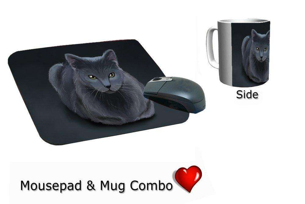 Blue Russian Cat Mug & Mousepad Combo Gift Set