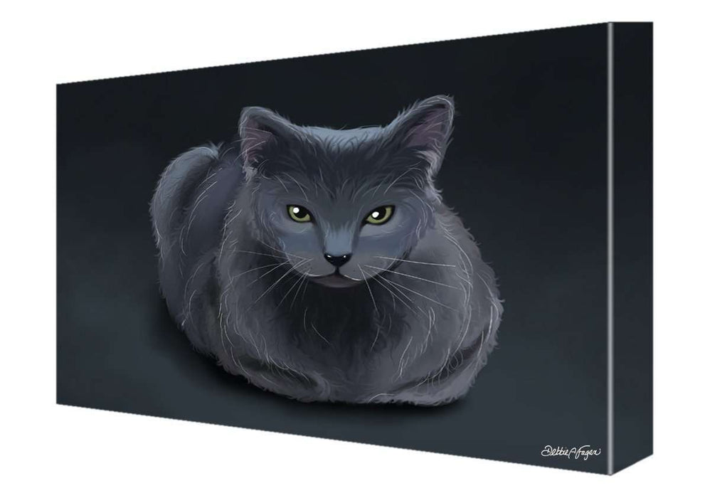 Blue Russian Cat Painting Printed on Canvas Wall Art Signed