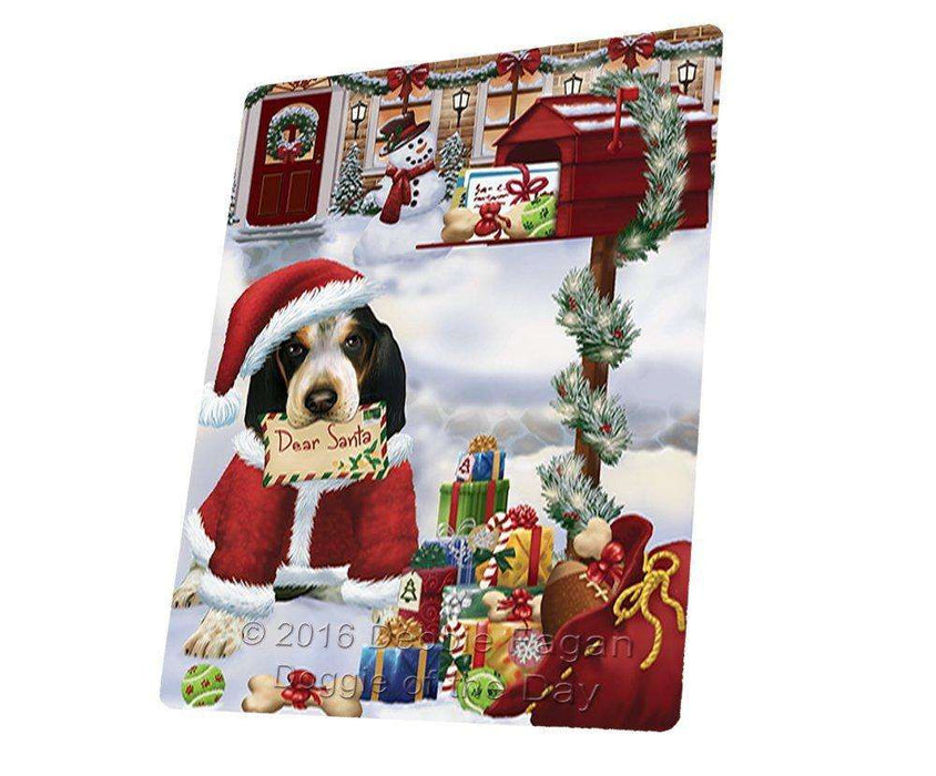 Bluetick Coonhound Dear Santa Letter Christmas Holiday Mailbox Dog Art Portrait Print Woven Throw Sherpa Plush Fleece Blanket