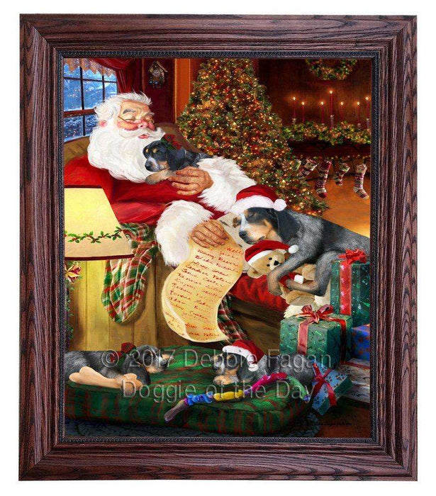 Bluetick Coonhound Dog and Puppies Sleeping with Santa Framed Canvas Print Wall Art