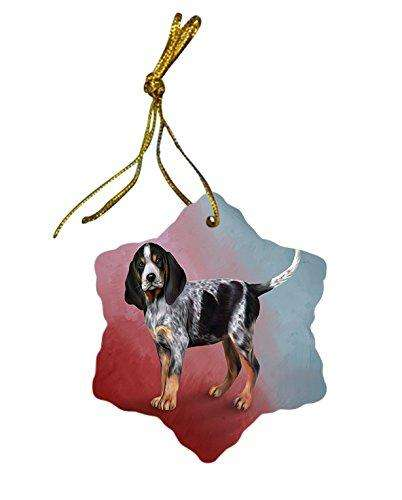 Bluetick Coonhound Dog Christmas Snowflake Ceramic Ornament
